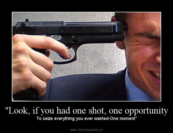 """Look, if you had one shot, one opportunity – To seize everything you ever wanted-One moment"""