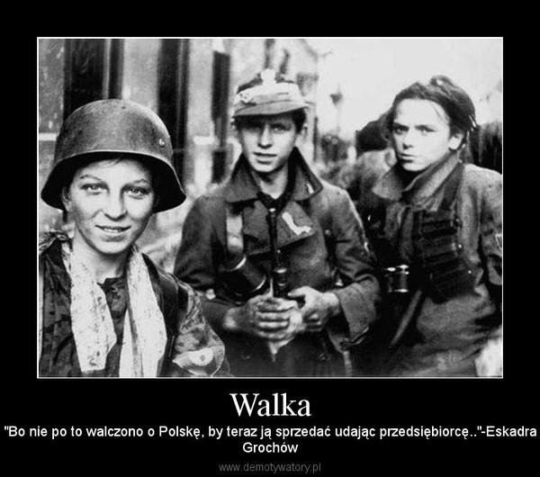 """Walka – """"Bo nie po to walczono o Polskę, by teraz ją sprzedać udając przedsiębiorcę..""""-EskadraGrochów"""