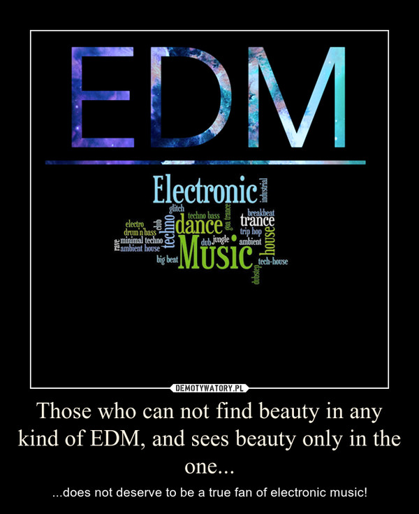 Those who can not find beauty in any kind of EDM, and sees beauty only in the one... – ...does not deserve to be a true fan of electronic music!