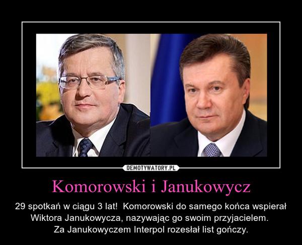 Komorowski i Janukowycz – 29 spotkań w ciągu 3 lat!  Komorowski do samego końca wspierał Wiktora Janukowycza, nazywając go swoim przyjacielem. Za Janukowyczem Interpol rozesłał list gończy.