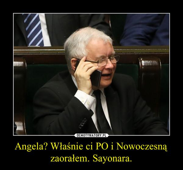 Angela? Właśnie ci PO i Nowoczesną zaorałem. Sayonara. –