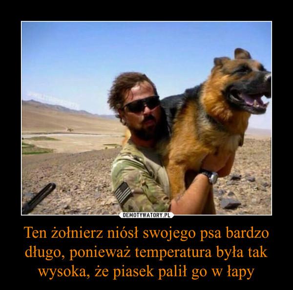 Ten żołnierz niósł swojego psa bardzo długo, ponieważ temperatura była tak wysoka, że piasek palił go w łapy –