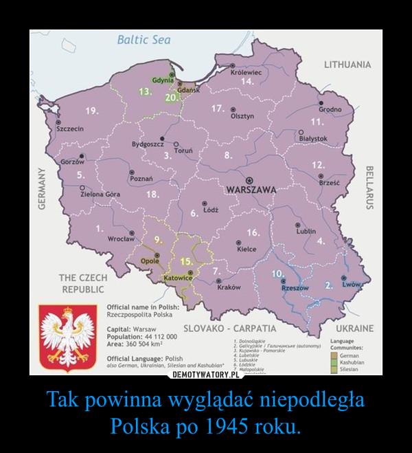Tak powinna wyglądać niepodległa Polska po 1945 roku. –