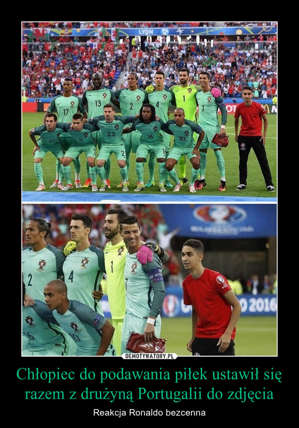 Chłopiec do podawania piłek ustawił się razem z drużyną Portugalii do zdjęcia – Reakcja Ronaldo bezcenna