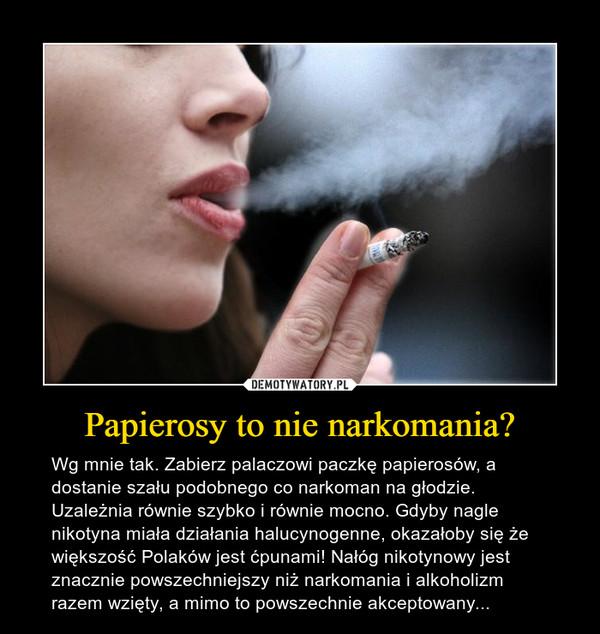 Papierosy to nie narkomania? – Wg mnie tak. Zabierz palaczowi paczkę papierosów, a dostanie szału podobnego co narkoman na głodzie. Uzależnia równie szybko i równie mocno. Gdyby nagle nikotyna miała działania halucynogenne, okazałoby się że większość Polaków jest ćpunami! Nałóg nikotynowy jest znacznie powszechniejszy niż narkomania i alkoholizm razem wzięty, a mimo to powszechnie akceptowany...