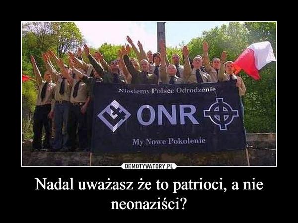 Nadal uważasz że to patrioci, a nie neonaziści? –