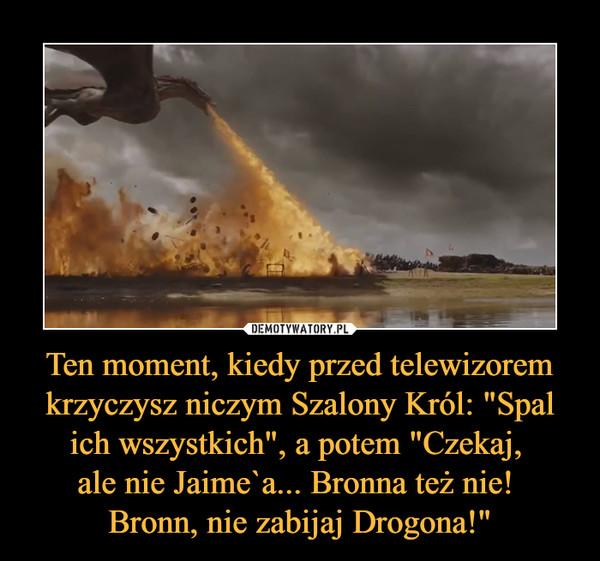 """Ten moment, kiedy przed telewizorem krzyczysz niczym Szalony Król: """"Spal ich wszystkich"""", a potem """"Czekaj, ale nie Jaime`a... Bronna też nie! Bronn, nie zabijaj Drogona!"""" –"""