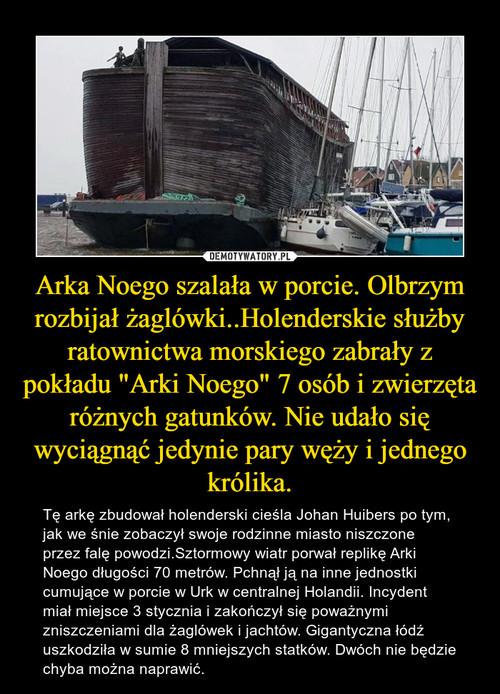 """Arka Noego szalała w porcie. Olbrzym rozbijał żaglówki..Holenderskie służby ratownictwa morskiego zabrały z pokładu """"Arki Noego"""" 7 osób i zwierzęta różnych gatunków. Nie udało się wyciągnąć jedynie pary węży i jednego królika."""