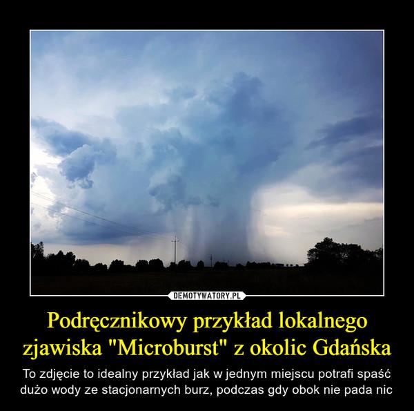 """Podręcznikowy przykład lokalnego zjawiska """"Microburst"""" z okolic Gdańska – To zdjęcie to idealny przykład jak w jednym miejscu potrafi spaść dużo wody ze stacjonarnych burz, podczas gdy obok nie pada nic"""
