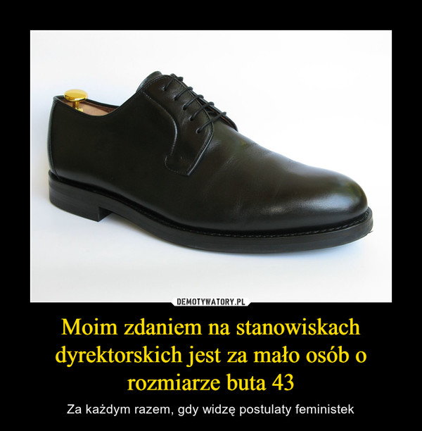 Moim zdaniem na stanowiskach dyrektorskich jest za mało osób o rozmiarze buta 43 – Za każdym razem, gdy widzę postulaty feministek