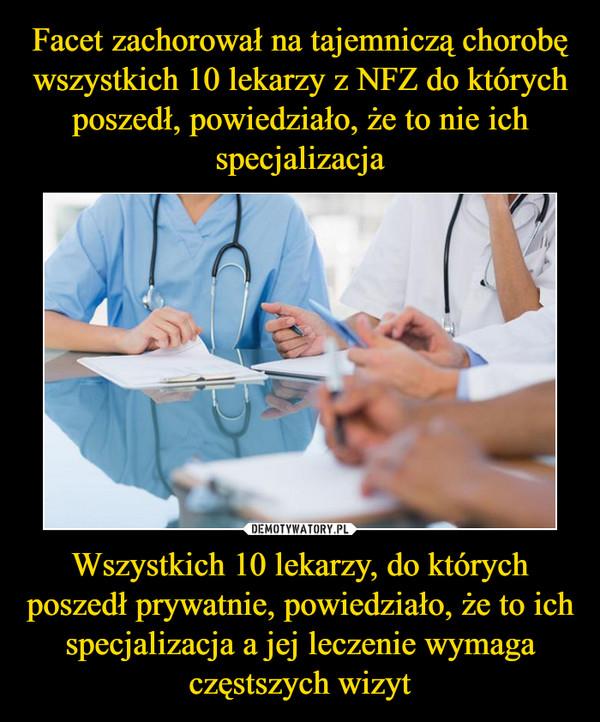 Wszystkich 10 lekarzy, do których poszedł prywatnie, powiedziało, że to ich specjalizacja a jej leczenie wymaga częstszych wizyt –
