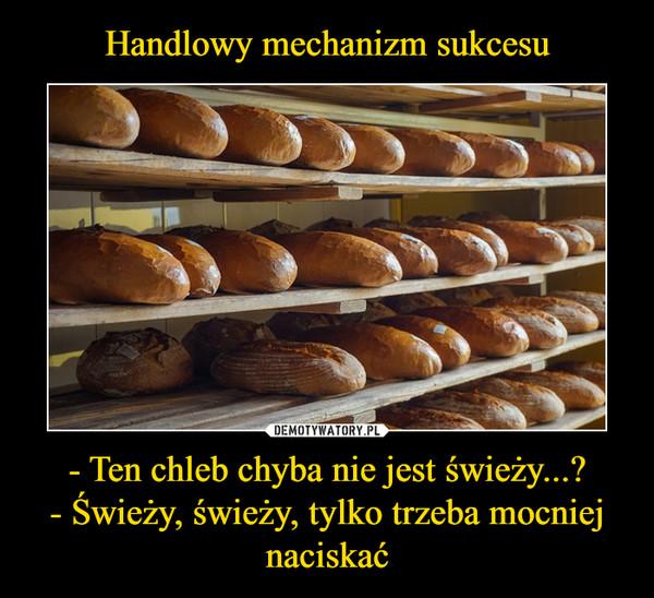 - Ten chleb chyba nie jest świeży...?- Świeży, świeży, tylko trzeba mocniej naciskać –