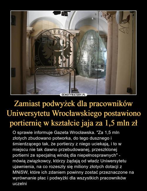Zamiast podwyżek dla pracowników Uniwersytetu Wrocławskiego postawiono portiernię w kształcie jaja za 1,5 mln zł