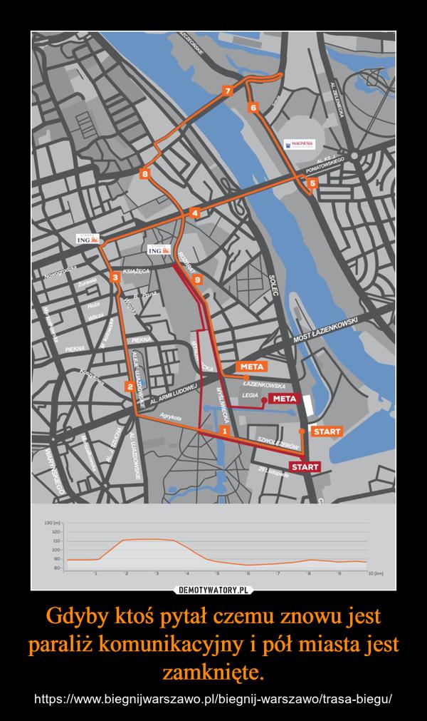 Gdyby ktoś pytał czemu znowu jest paraliż komunikacyjny i pół miasta jest zamknięte. – https://www.biegnijwarszawo.pl/biegnij-warszawo/trasa-biegu/