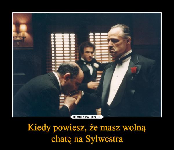 Kiedy powiesz, że masz wolnąchatę na Sylwestra –