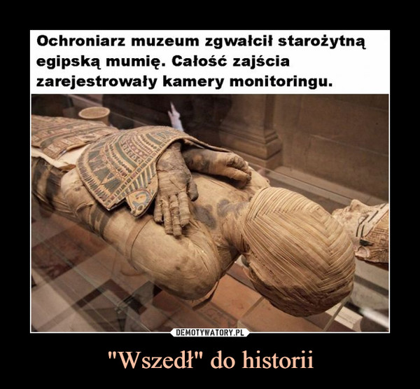 """""""Wszedł"""" do historii –  Ochroniarz muzeum zgwałcił starożytną egipską mumię. Całość zajścia zarejestrowały kamery monitoringu"""