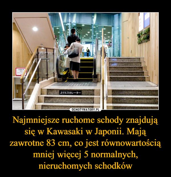 Najmniejsze ruchome schody znajdują się w Kawasaki w Japonii. Mają zawrotne 83 cm, co jest równowartością mniej więcej 5 normalnych, nieruchomych schodków –