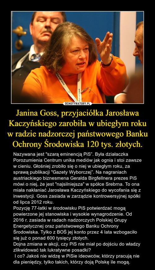 Janina Goss, przyjaciółka Jarosława Kaczyńskiego zarobiła w ubiegłym roku w radzie nadzorczej państwowego Banku Ochrony Środowiska 120 tys. złotych.
