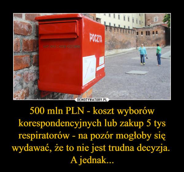 500 mln PLN - koszt wyborów korespondencyjnych lub zakup 5 tys respiratorów - na pozór mogłoby się wydawać, że to nie jest trudna decyzja. A jednak... –