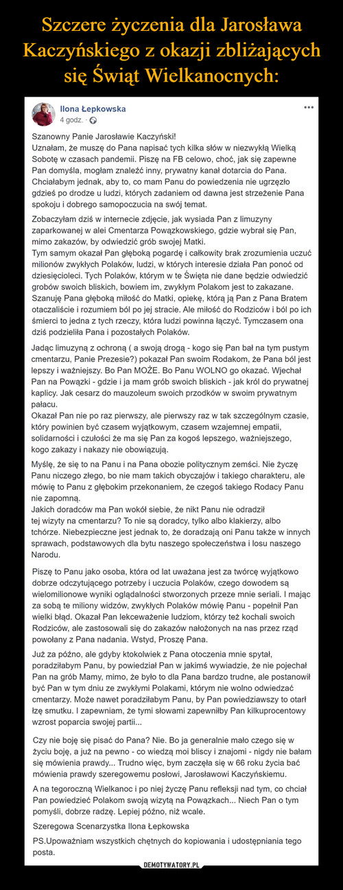 Szczere życzenia dla Jarosława Kaczyńskiego z okazji zbliżających się Świąt Wielkanocnych: