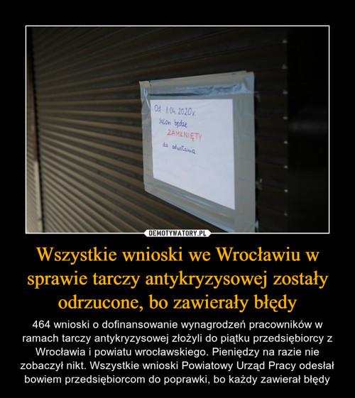 Wszystkie wnioski we Wrocławiu w sprawie tarczy antykryzysowej zostały odrzucone, bo zawierały błędy