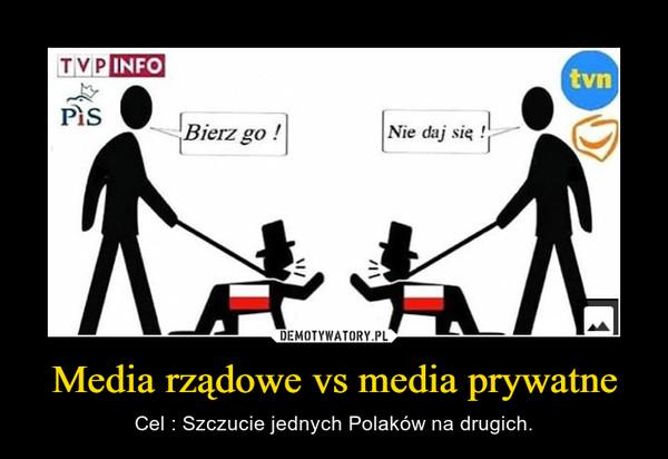 Media rządowe vs media prywatne – Cel : Szczucie jednych Polaków na drugich.