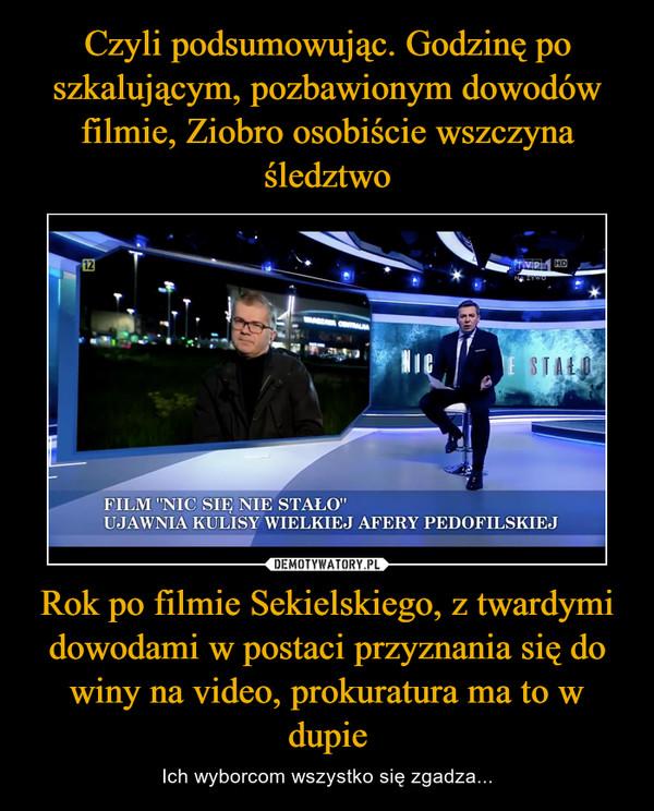 Rok po filmie Sekielskiego, z twardymi dowodami w postaci przyznania się do winy na video, prokuratura ma to w dupie – Ich wyborcom wszystko się zgadza...