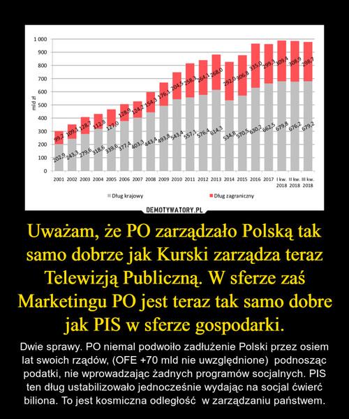 Uważam, że PO zarządzało Polską tak samo dobrze jak Kurski zarządza teraz Telewizją Publiczną. W sferze zaś Marketingu PO jest teraz tak samo dobre jak PIS w sferze gospodarki.
