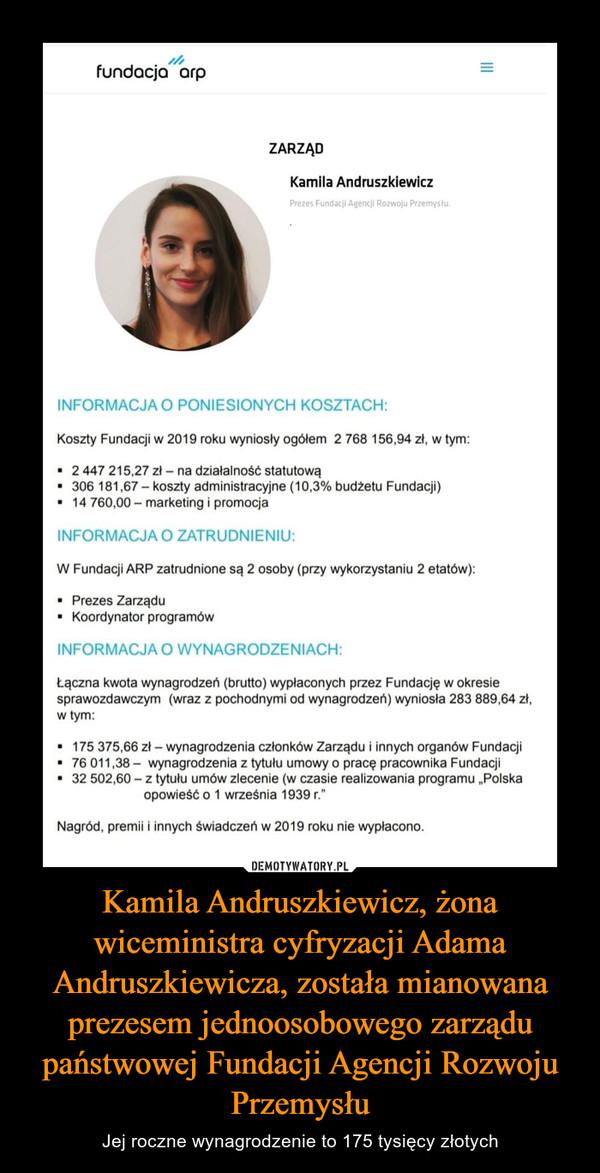 Kamila Andruszkiewicz, żona wiceministra cyfryzacji Adama Andruszkiewicza, została mianowana prezesem jednoosobowego zarządu państwowej Fundacji Agencji Rozwoju Przemysłu – Jej roczne wynagrodzenie to 175 tysięcy złotych
