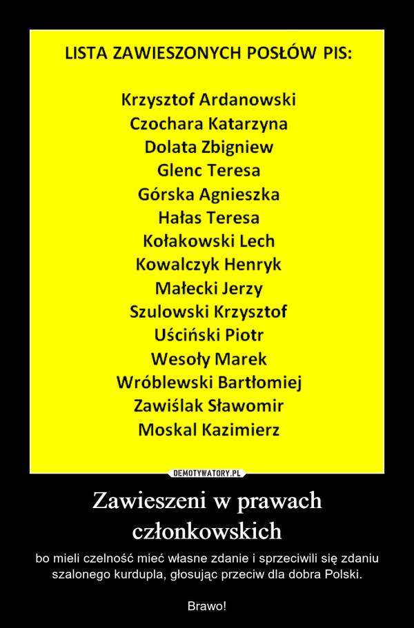 Zawieszeni w prawach członkowskich – bo mieli czelność mieć własne zdanie i sprzeciwili się zdaniu szalonego kurdupla, głosując przeciw dla dobra Polski.Brawo!