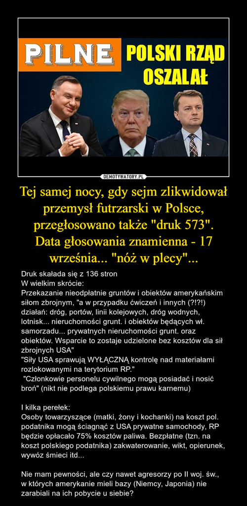 """Tej samej nocy, gdy sejm zlikwidował przemysł futrzarski w Polsce, przegłosowano także """"druk 573"""". Data głosowania znamienna - 17 września... """"nóż w plecy""""..."""