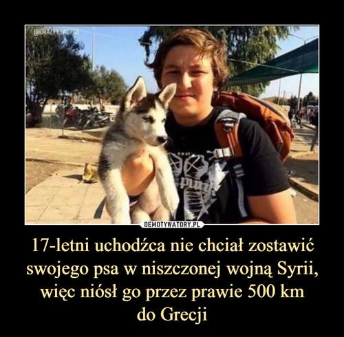 17-letni uchodźca nie chciał zostawić swojego psa w niszczonej wojną Syrii, więc niósł go przez prawie 500 km do Grecji
