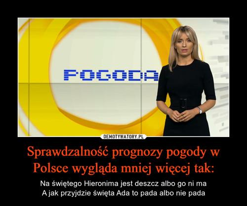 Sprawdzalność prognozy pogody w Polsce wygląda mniej więcej tak: