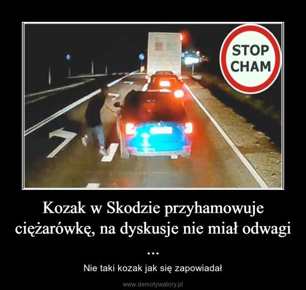 Kozak w Skodzie przyhamowuje ciężarówkę, na dyskusje nie miał odwagi ... – Nie taki kozak jak się zapowiadał