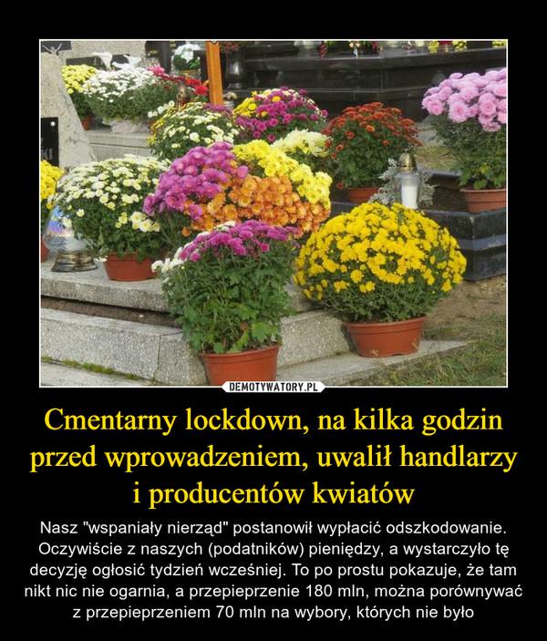"""Cmentarny lockdown, na kilka godzin przed wprowadzeniem, uwalił handlarzy i producentów kwiatów – Nasz """"wspaniały nierząd"""" postanowił wypłacić odszkodowanie. Oczywiście z naszych (podatników) pieniędzy, a wystarczyło tę decyzję ogłosić tydzień wcześniej. To po prostu pokazuje, że tam nikt nic nie ogarnia, a przepieprzenie 180 mln, można porównywać z przepieprzeniem 70 mln na wybory, których nie było"""