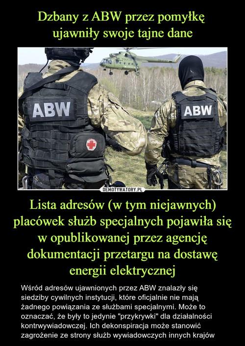 Dzbany z ABW przez pomyłkę  ujawniły swoje tajne dane Lista adresów (w tym niejawnych) placówek służb specjalnych pojawiła się w opublikowanej przez agencję dokumentacji przetargu na dostawę energii elektrycznej