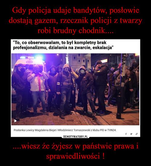 Gdy policja udaje bandytów, posłowie dostają gazem, rzecznik policji z twarzy robi brudny chodnik.... ....wiesz że żyjesz w państwie prawa i sprawiedliwości !