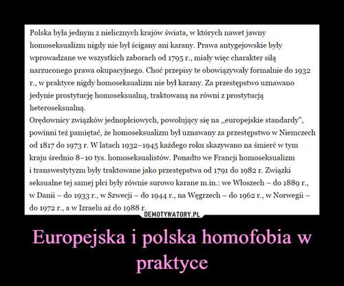 Europejska i polska homofobia w praktyce