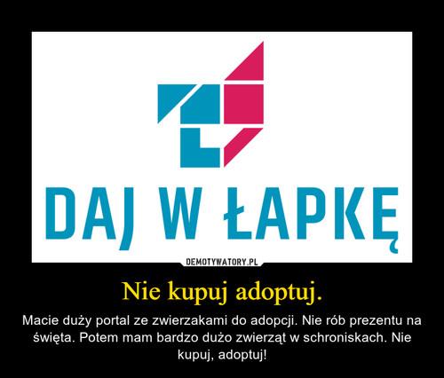 Nie kupuj adoptuj.
