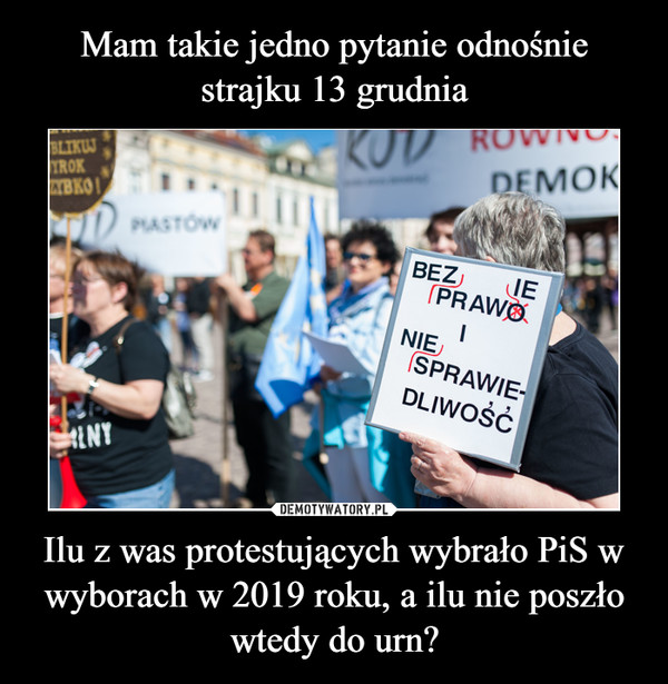 Ilu z was protestujących wybrało PiS w wyborach w 2019 roku, a ilu nie poszło wtedy do urn? –