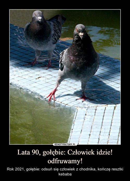 Lata 90, gołębie: Człowiek idzie! odfruwamy!