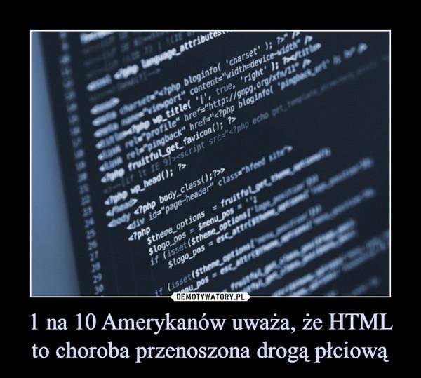 1 na 10 Amerykanów uważa, że HTML to choroba przenoszona drogą płciową –