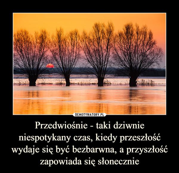 Przedwiośnie - taki dziwnie niespotykany czas, kiedy przeszłość wydaje się być bezbarwna, a przyszłość zapowiada się słonecznie –