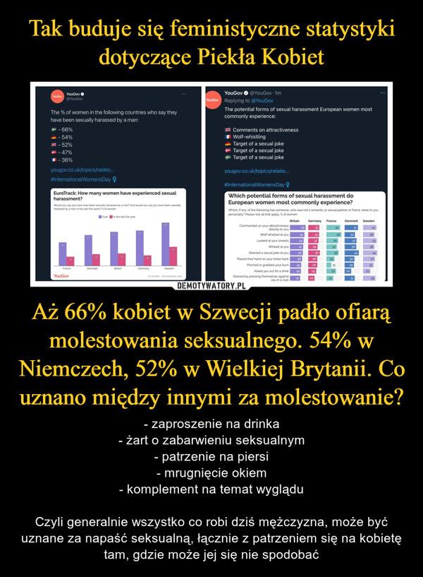 Aż 66% kobiet w Szwecji padło ofiarą molestowania seksualnego. 54% w Niemczech, 52% w Wielkiej Brytanii. Co uznano między innymi za molestowanie? – - zaproszenie na drinka- żart o zabarwieniu seksualnym- patrzenie na piersi- mrugnięcie okiem- komplement na temat wygląduCzyli generalnie wszystko co robi dziś mężczyzna, może być uznane za napaść seksualną, łącznie z patrzeniem się na kobietę tam, gdzie może jej się nie spodobać
