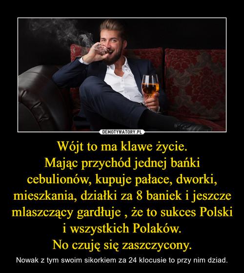 Wójt to ma klawe życie. Mając przychód jednej bańki cebulionów, kupuje pałace, dworki, mieszkania, działki za 8 baniek i jeszcze mlaszczący gardłuje , że to sukces Polski i wszystkich Polaków. No czuję się zaszczycony.