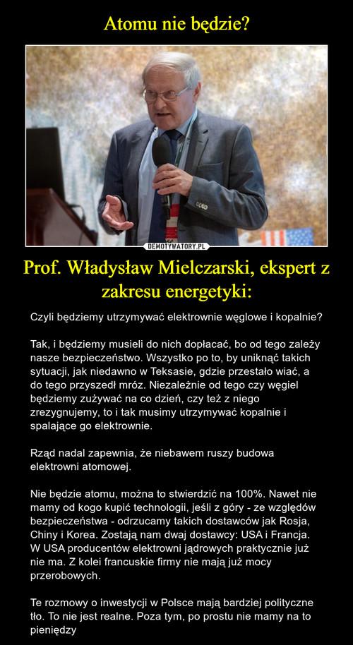 Atomu nie będzie? Prof. Władysław Mielczarski, ekspert z zakresu energetyki: