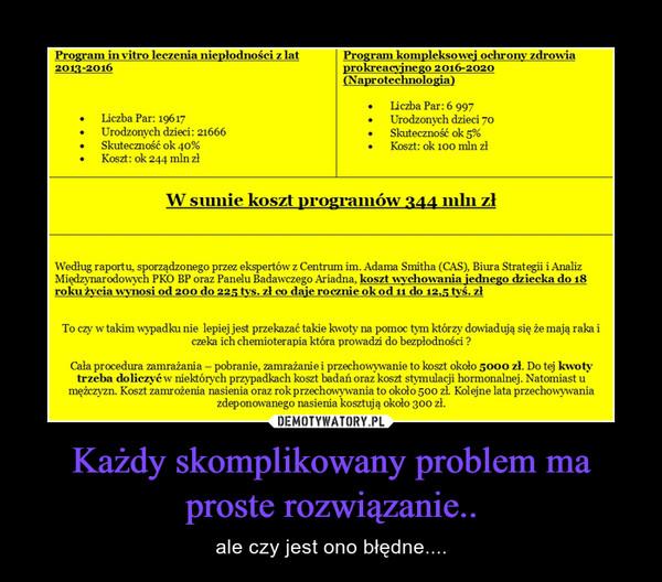 Każdy skomplikowany problem ma proste rozwiązanie.. – ale czy jest ono błędne....
