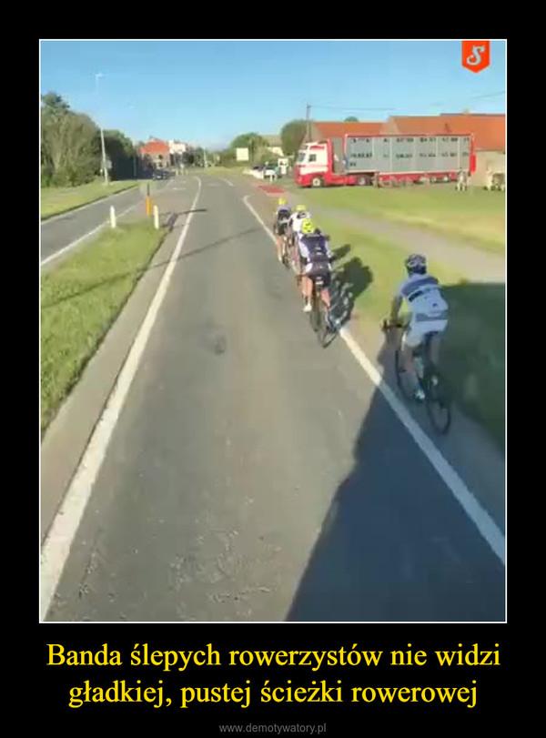 Banda ślepych rowerzystów nie widzi gładkiej, pustej ścieżki rowerowej –