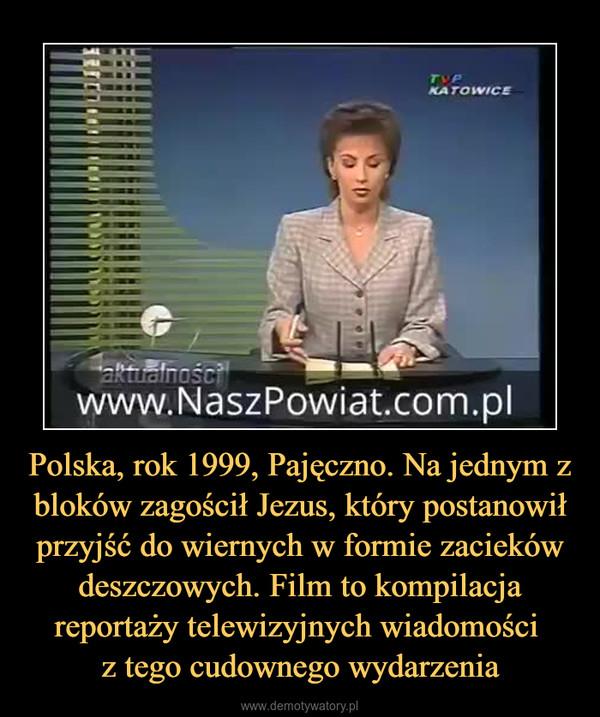 Polska, rok 1999, Pajęczno. Na jednym z bloków zagościł Jezus, który postanowił przyjść do wiernych w formie zacieków deszczowych. Film to kompilacja reportaży telewizyjnych wiadomości z tego cudownego wydarzenia –