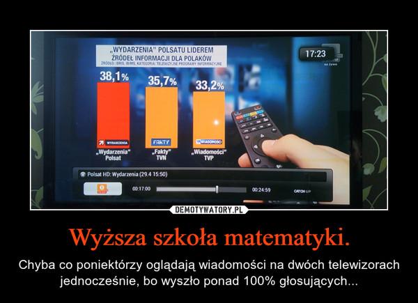 Wyższa szkoła matematyki. – Chyba co poniektórzy oglądają wiadomości na dwóch telewizorach jednocześnie, bo wyszło ponad 100% głosujących...